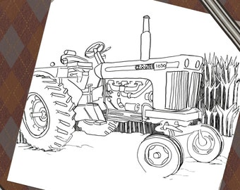 Coloring Page, Coloring sheet, digital download, farm tractor, colouring page, color page, agriculture, kids activity, Printable