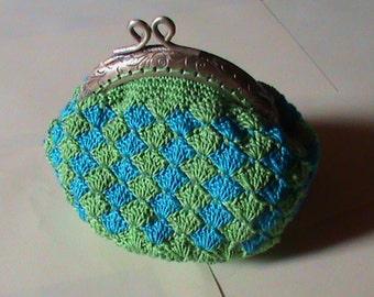 crochet green and blue wallet, purse
