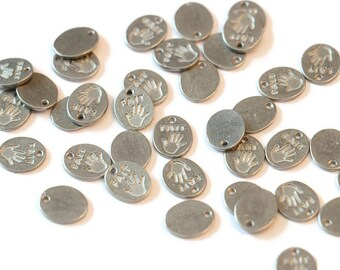 """Piece of Tin """"hand made"""" for making jewelry LoB-27 (50 pieces)"""