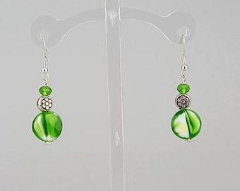 Lime Green & Silver Earrings