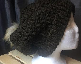 Women's Slouch Beanie With Faux Fur Pom Pom