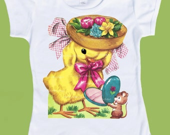 Sweet Chick with Easter Bonnet, Yellow Duck Shirt, Baby Chick, One Piece, Duckling T Shirt, Baby Duck tee, Spring Chick by ChiTownBoutique