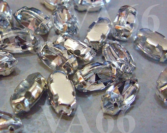 Navette Marquis Sew On Rhinestones Crystal DIY 40pcs 4mm x 8mm 4 hole Small Silver Montee Faceted Acrylic Glass Look Rhinestone Beads sewing