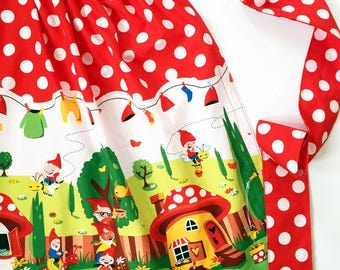 Womens red and white polka dot gnome half apron