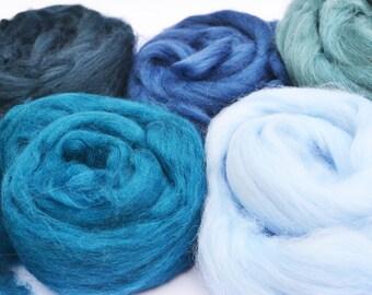 Merino wool tops, merino wool roving, felting wool, spinning wool, merino 64, wool for felting, blue merino wool, fiber, textile supplies