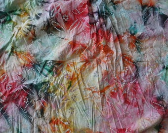 """Vibrant Tropical Starfish Batik Abstract Tie Dye Cotton Fabric Remnant 36"""" x 136"""" Free Domestic Shipping!"""