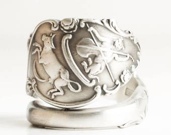 Hey Diddle Diddle Ring, Sterling Silver Spoon Ring, Cow Jumped Over the Moon Ring, Cat and Fiddle, Nersery Rhyme, 925 Adjustable Ring (6793)