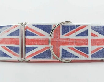 Union Jack CANVAS Dog Collar (Martingale, Buckle or Tag)