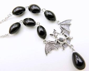 Bat Necklace, gothic neckalce