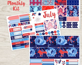 """Monthly View Kit,  For Use With Erin Condren Lifeplanner, July, """"American Patchwork"""" , Floral Kit, 3 Pg , EC Vertical, Horizontal, EC Hourly"""