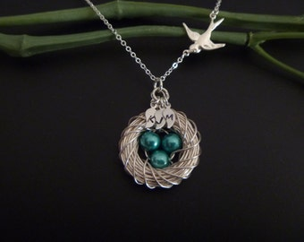 Bird nest with initial necklace - Bird egg nest necklace - Egg and Nest Necklace - Family Birth stone - Mothers Day Gift - Mom Necklace Gift
