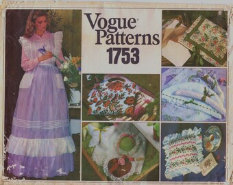 70s Womens Apron and Gift Items Pattern Jewelry Tray Lingerie Bags Hangar Cover Picture Frames Vogue Craft Sewing Pattern 1753 UnCut