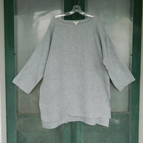 Eileen Fisher Long Sleeve Tunic -XL- Yarn-Dyed Gray Linen
