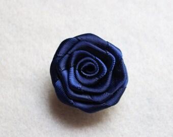 Navy Blue flower lapel pin