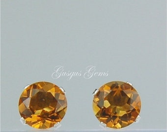 Memorial Day Sale Madeira Citrine Stud Earrings Sterling Silver 6mm Round 1.55ctw