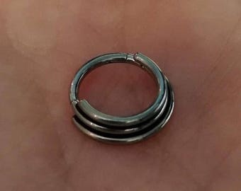 Titanium Triple Band Stacked Hinged Clicker Piercing Ring - UK Seller - can also be worn in helix, tragus, ear cartilage daith septum etc