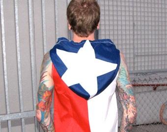Texas Flag Hoodie - mens clothing windbreaker - jacket - vest - sleeveless zippered coat - upcycled clothing