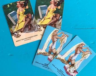 Vintage Advertisement Pinup Bride Playing Cards Set of 2