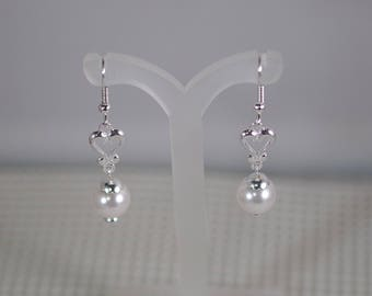 """Swarovski Pearl and Sterling Silver Heart Earrings - Sterling Silver Heart Links - Choice of French wires, leverbacks or posts - 1-1/4"""" Long"""