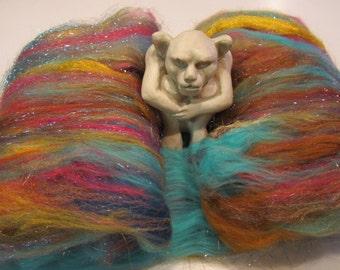 CONVENIENT STORY 4.0 oz,  fiber art batt for spinning, spinning batt, fiber batt, art batt, bling batt, felting fiber, drum carded batt