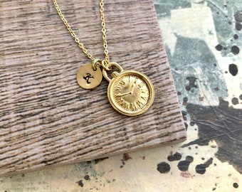 Clock Necklace, Initial Necklace, Handstamped Necklace, Best Friend Gift, Friendship Necklace