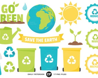 50% OFF SALE! Earth Day Clip Art, Recycle Clipart, Eco Friendly Clip Art - Commercial Use, Instant Download