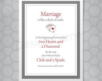 Marriage is like a deck of cards funny wedding card