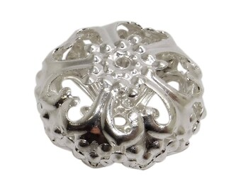4 spacers beads filigree color prm14 silver 23 mm