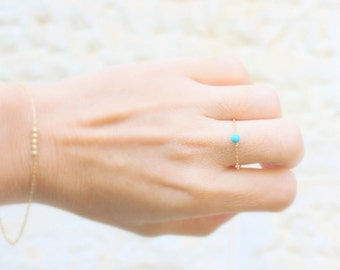 Thin delicate Gold jewelry set - Tiny turquoise gold filled chain  - Gold Bracelet and Thin Chain Ring  - Turquoise Chain Ring