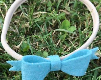 Light Blue Felt Bow Headband