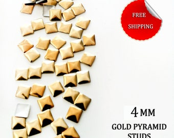100 Gold Pyramid Square Studs Rivets for Iron On, Hot Fix 4 mm