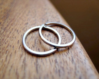 mens earrings. silver hoops. jewelry for men. square stainless steel.