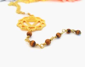 Solar Plexus Chakra, Reiki healing necklace, Manipura symbol, Tigers eye, yellow chakra stones, Manipura symbol necklace, healing jewelry