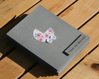 Baby Shower Thank You Cards - Baby Girl Thank You Cards - Grey Thank You Cards - Thank you Cards - Pink Floral Thank You Cards - 50