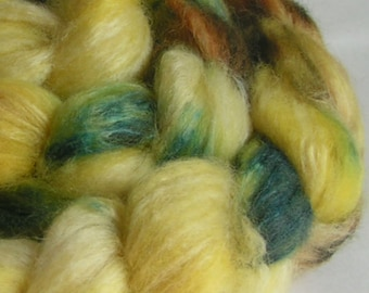 Fiber Roving Top BFL Silk GEODE Top Hand Painted Wool Spin Felt Craft Roving 4 ounces