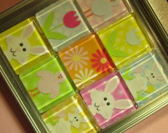 EASTER Refrigerator Magnets, Set of 9 Glass Tile Refrigerator Magnets with Storage Tin