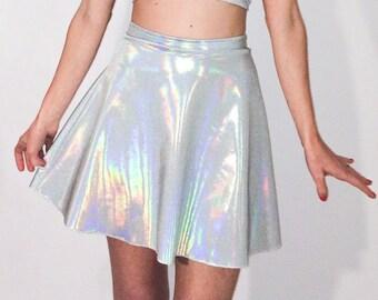 Holographic Skirt Festival Wear Metallic Silver festival Clothing Burning man Rainbow Mini Skirt Stretch Skater Skirt Made to Order