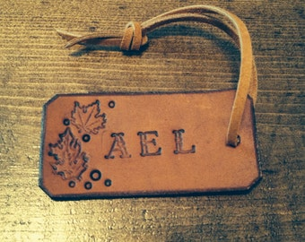 Fall Leaves Monogram Leather Tag