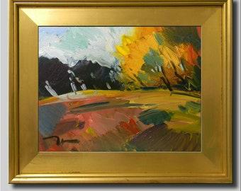 Large Orange Yellow Landscape, Sky Hills Tree 16x20 Oil Painting, Plein Air Impressionist Art