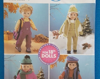 """Simplicity 5676 ~ Crafts ~  Fleece Wardrobe and Accessories Doll Clothes Sewing Pattern ~ 18"""" Doll ~ Uncut"""