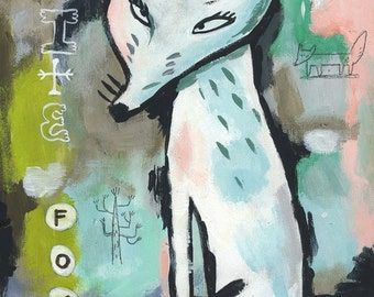 White fox. A giclee print of an original painting.