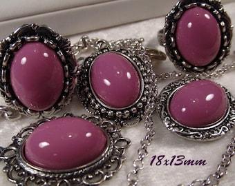 18x13mm - Lilac - Acrylic Cabochon - 5 pcs : sku 03.10.13.18 - F27