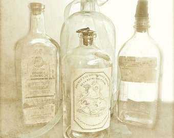 "Shabby Cottage Chic Photo, Old Bottle Sepia Photo, Bathroom Decor, Warm Country Kitchen, Rustic Farmhouse, Neutral Still Life- ""Apothecary"""