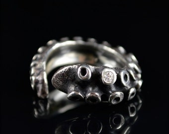 SALE - White Diamond Tentacle Ring, Wedding Band, Engagement ring, Octopus tentacle jewelry