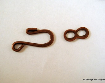 10 Antique Copper Hook and Eye Clasp Plated Brass 25x9mm - 10 sets - 5872-6