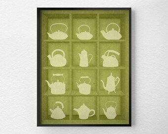 Tea Kitchen Print, Kitchen Decor, Kitchen Art, Teapot Print, Teapot Art, Tea Print, Green Kitchen, Tea Kettle Print, Tea Lover Gift, 0225
