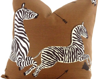 Brown Scalamandre Zebra Decorative Pillow Cover, Square pillow, Eurosham pillow or Lumbar Pilllow, Accent Pillow, Throw Pillow