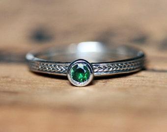 Tsavorite garnet ring, gemstone stacking rings, birthstone ring stackable, January birthstone, braided ring, recycled silver, custom