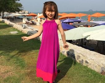 Color Block Purple Pink halter long maxi girl dress all size