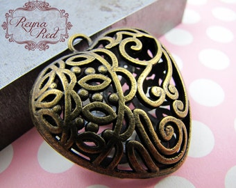 Warm Bronze Hollow Filigree Heart Pendant, boho, heart focal, primitive, Valentines Day, love, romance, jewelry making - reynaredsupplies